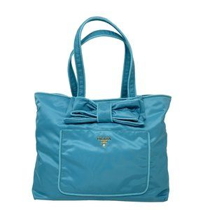 New PRADA Women's Handbag Blue Nylon Tote Bag
